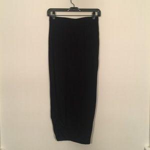 Anthropologie Lilith Wool Black Tie-Up Side Skirt